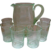 MacBeth-Evans Green Pitcher And Glasses Set