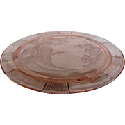Depression Glass Pink Sharon Cake Plate