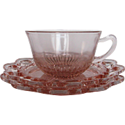 "Depression Glass Old Colony ""Lace Edge"" Cup & Saucers"