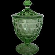 Depression Glass Green Cube Candy Jar