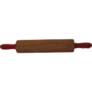 Vintage Red Handled Maple Rolling Pin