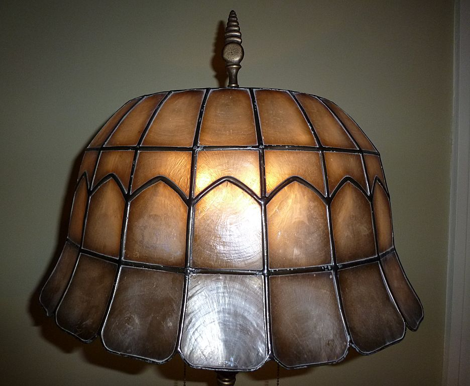 Signed Rembrandt Art Deco Floor Lamp With Leaded Shell