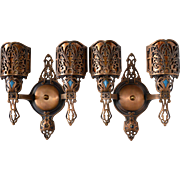 REDUCED Pair of Bronze Double Light Spanish Revival Sconces with Mica Shades