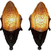 REDUCED Pair of Art Deco Bronze Slip Shade Sconces