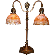 REDUCED Tudor Style Double Arm Table Lamp with Slag Glass Shades