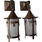 REDUCED Pair of Arts and Crafts Sconces with Glass Cylinder Shades