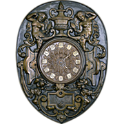 SOLD French 19th Century  Brass Repousse Wall Clock