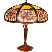 Slag Glass Panel Lamp By the Empire Lamp Company.