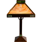 Arts and Crafts Mission Style All Brass Slag Glass Lamp