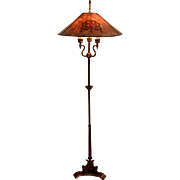 Greek Sphinx Floor Lamp With Decorated Mica Shade Signed Mutual Sunset Lamp Co.