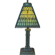 Slag Glass Panel Lamp With Intricate Detail