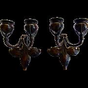 Tiffany Studios Signed Pair Of Bronze Fleur De Lis Candle Sconces
