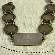 SALE Sweet Engraved WWII British Sweetheart Bracelet