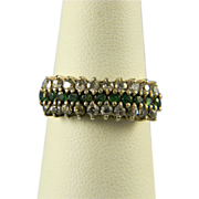 Sterling Emerald And Diamond Cocktail Ring