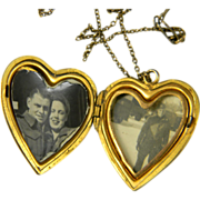 Sweet WWII Gold Filled Sweetheart Locket  1944