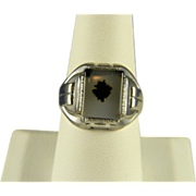 Classic Art Deco Sterling Moss Agate Ring