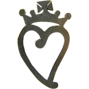 Sterling Witch's Heart Pin Circa 1910
