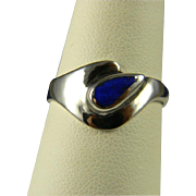 Fun Sterling And Lapis 1980's Modernist Ring