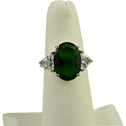 Stunning Sterling Deep Green And White CZ Ring