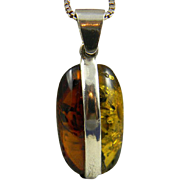 Unique Sterling Dual Color Amber Pendant With Chain