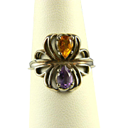 Great Sterling And Amethyst Ring  1970's