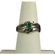 Lovely Sterling Ring With Natural Emerald