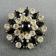 Sharp 1950's Rhinestone And Black Glass Pin