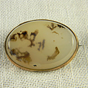 SALE Charming Dendritic Agate Brooch  Circa 1900-1920