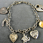SALE Wonderful Sterling Heart Charm Bracelet  Circa 1940's and 50's