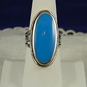 SALE Large And Lovely Sterling Turquoise Ring