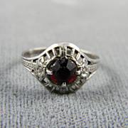 Charming Sterling Ruby Filigree Child's Ring  Circa 1950