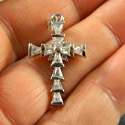 Pretty Sterling Crystal Cross