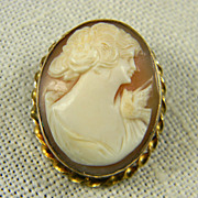 Lovely Hand Carved Shell Cameo In Gold Filled Bezel