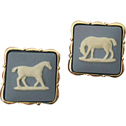 Wedgwood blue Jasper Ware  gold plated pair cufflinks horses with original box