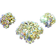 BOLD Vintage Sherman brooch and earrings iridescent rhinestones