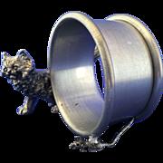 Figural napkin ring holder whimsical Cat + Mouse pewter