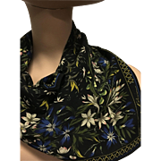 Anne Klein Silk scarf black snowdrop floral