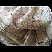 "Liz Claiborne long silk scarf grey, peach and pink floral  10"" x 51"""