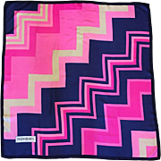 Vintage Yves Saint Laurent geometric Kennedy pink silk scarf