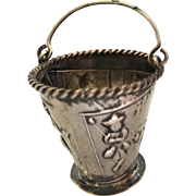 Dutch sterling silver Miniature pail with fisherman, 2 drummers and a shepherd-ANTIQUE