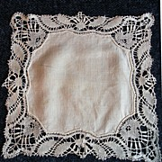 SALE PENDING French Antique WEDDING Hankerchief 19th Century! Just in Time for JUNE!