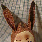 REDUCED Paper Mache Easter Egg Bunny Candy Container!