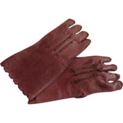 "REDUCED ""Ashes of Roses"" Leather Gloves for French Bisque Doll!"