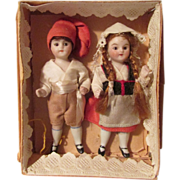 SALE Holiday Sale! Tiny Pair of All-Bisque Dolls in Original Box!