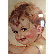 SALE Framed Charlotte Becker Print of Baby, Rag Doll and High Chair!