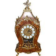 SALE Cyber Monday Franz Hermle Gilt Bronze and Wood Inlaid Vintage Clock in French Rococo Styl