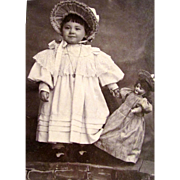 Darling Cabinet Card Photo of Little Girl and Her Doll!