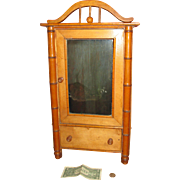 REDUCED Cyber Monday Large Faux Bambou Armoire/Original Label for Your French Doll!