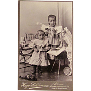 REDUCED Photo of Sisters with Loads of Toys Cabinet Card