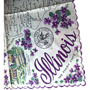 SALE Illinois State Hanky  Decorated with Beautiful Violets